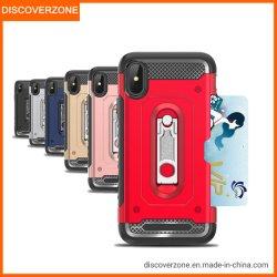 Einbauschlitz TPU PC Mobile/Handy-Fall mit Standplatz für iPhone