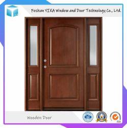 ガラスとの従来の汚された前部固体マホガニーの木のドアデザイン