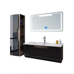 新しいPVCハイエンド贅沢で黒く光沢度の高いペンキの浴室用キャビネット