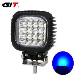 مصباح LED مربع مقاس 48 واط ذو مصباح LED يضيء باللون الأزرق CREE مقاس 5 بوصات بجهد 12 فولت/24 فولت بالنسبة إلى المقلاة الزراعية (GT1013B-48 واط باللون الأزرق)