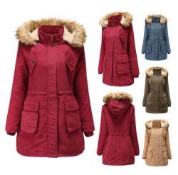 Damen Winter Corduroy Jacke Mit Gebürstetem und Fellkragen