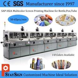 Sap-102A vijf Machine van de Druk van de Serigrafie van Kleuren de Automatische voor Plastic Flessen