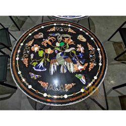 Haut de gamme de matériel d'Onyx ronde translucide marqueterie de marbre la table de salle de séjour dans la Villa