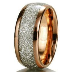oro imitato della Rosa dell'anello del tungsteno dell'intarsio della meteorite coperto con una cupola 8mm placcato