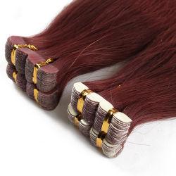 Mano atada al 100% virgen de reemplazo de cabello humano cinta europea en el Hair Extension