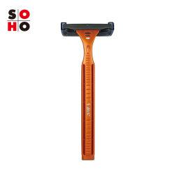 Bic en acier inoxydable jetable de 2 lames de rasoir avec du lubrifiant set de rasage/Strip (jaune)