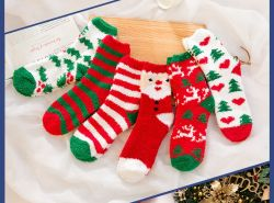 Coral флис носки Рождество носки дома загустеет флис Терри Sock родов комнате носки осенью и зимой спальные носки