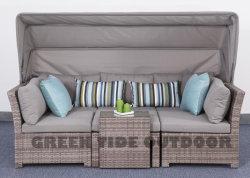 Открытый патио с садом плетеной мебели плетеной Lounge диван, 5 ПК для дома гостиницы