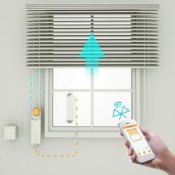 Casa inteligente elevadores motorizados estore de accionamento, Bluetooth e temporizador de controle remoto sem fio de aplicativos, alimentado pelo painel solar e carregador, sem necessidade de cablagem