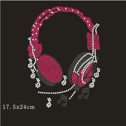 Красивая музыка розового цвета Rhinestone передачи дизайн Hotfix Crystal Схема люка камнеуловителя