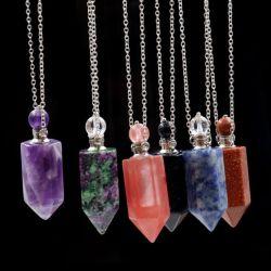 Piedra de Cristal natural de la botella de perfume de la columna hexagonal hembra Colgante Collar rojo y verde botella de aceite esencial de tesoro