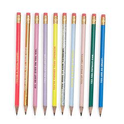 Haut de la qualité du bois naturel Custom Glitter Cartoon Logo Coloré impression de l'affûteur les élèves de la Papeterie Stylo dessin Crayons de charpentier ronde Jumbo conduire avec la gomme