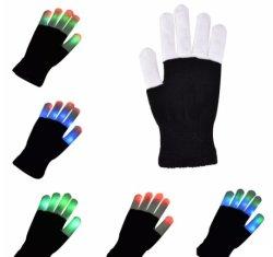 Neuer u. heißer schwarzer Handschuh des Verkaufs-Halloween-Weihnachtenled/Flashig Handschuh-Förderung-Geschenk-Großverkauf weißer Finger-Halloween-LED