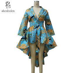 Afrikanischer Art V-Stutzen montieren Taille mit Riemen-Kurzschluss-Vorderseite-lang Rückseiten-Kleid