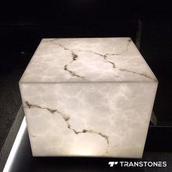 أبيض شفّانيّة عقيق اصطناعيّة حجارة [ليغتينغ بوإكس كلومن] مرمر