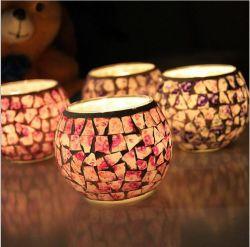 Vintage estilo chino Jardín de Flores rotas Partern único cristal portavelas de vidrio