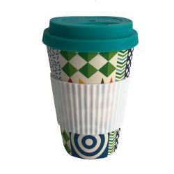 Bamboo Fiber Cup herbruikbare bekers en koffiebekers met siliconen Deksel en huls