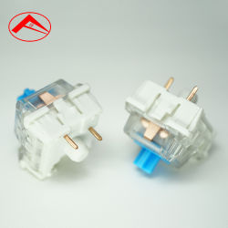 Interruptor de teclado mecánico de esmalte azul transparente del eje de la cubierta antipolvo RGB del eje de la llave de contacto del eje de la luz azul negro botón interruptor táctil