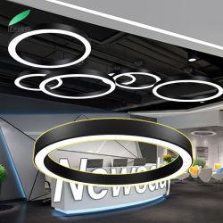 이음새가 없는 지속적인 LED 까맣거나를 가진 펜던트에 의하여 거치되는 원형 반지 빛 백색 또는 은