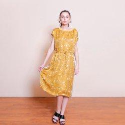 Les femmes Boatneck à manches courtes robe fashion