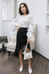 تنورة جديدة سوداء على الموضة سيدة مخصصة عادية نسائية عادية