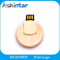 Hout USB Flash Memory Round Shape USB-schijf van 4 GB 16 GB 32 GB 64 GB 128 GB USB-pennenschijf