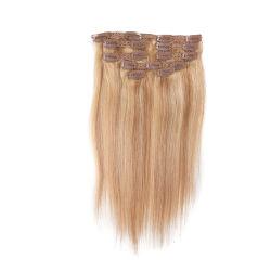 クリップイン式の人間の毛の延長 #27/613 色 22 インチ