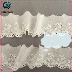 De encaje decorativo de corte de encaje de algodón de corte de algodón blanco