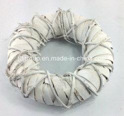 Белый цвет раунда Handweave плетеной декоративные венок на Рождество