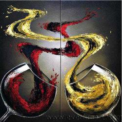 Abstracte Olieverfschilderij van het Canvas van de Glazen van de Wijn van de Kunst van de muur het Hand Geschilderde voor het Decor van het Huis (XD2-041)