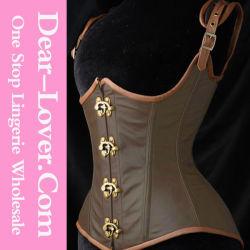 Женщины Sexy стальные кости Corset из натуральной кожи