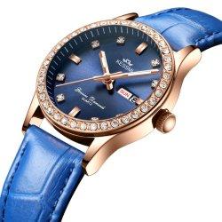 Propio Logo personalizado de cuarzo analógico reloj de pulsera de diamantes de Ginebra de diseñador de moda mujer/Señoras reloj de pulsera de cuero de regalo