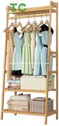 Comercio al por mayor ropa de abrigo para rack de bambú, Gran Perchero con estante superior y 2 niveles de almacenamiento de los estantes del organizador de la zapata de prendas de vestir