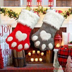 クリスマスの装飾のストッキングの吊り下げ式犬の足のクリスマスのソックスのギフト袋
