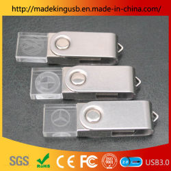 La rotation Crystal lecteur Flash USB/ Voyant d'éclairage de l'Acrylique Crystal Lantern gravure personnalisée Logo stick USB
