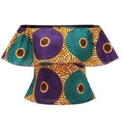 Ankara africana Imprimir hombro Mini tubo superior de la mujer