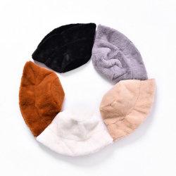 Commerce de gros large bord fourrure artificielle Lady godet Hat pour l'hiver
