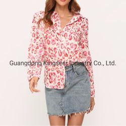 قميص طباعة من القطن/قميص بدون أكمام طويل من الحرير من الدرجة الأولى 2019 قميص وبلاوزة للسيدات بتصميم رفيع
