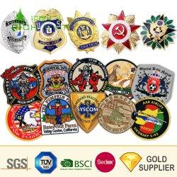 Logotipo personalizado barata por grosso a tampa do Exército de Metal Personalizada Sheriff Star Rank Officer Pin de lapela Ombro Scout Bordados Patch guarda policial Monograma Militar