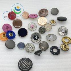 Diseño del logotipo de accesorios decorativos de Prensa Bolsa de tela redonda Camiseta Jeans de aleación de zinc de latón de Metal Botones de ajuste personalizado para la ropa