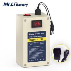 Batteria ricaricabile del sig. Li per il pacchetto della batteria della macchina fotografica dello ione del litio del LED 12V 10ah e la spina UE/USA del caricatore di 12.6V 1A