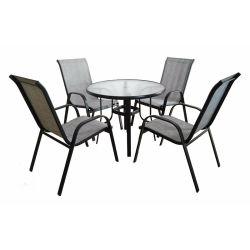 Teslinのテラスの家具5部分の黒のビストロの高の一定の屋外の庭の家具ガラス表の背部椅子