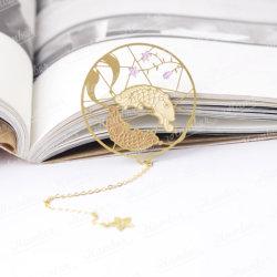 금속 책 레이블 관례 북마크가 주문을 받아서 만들어진 선물 고대 중국 작풍 둥근 다채로운 사랑스러운 만화 물고기 꽃 나무 문화 여행에 의하여 밖으로 속을 비게 한다