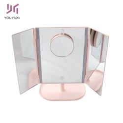 Alta Quanlity escritorio espejo de maquillaje con una luz LED de 10 aumentos Wide-Angle Ver Fuente de Alimentación de doble pantalla táctil de 180 grados de rotación del espejo de maquillaje