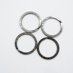 Дешевые цены Keyring Сталь черного или Золото 32мм лазерный буквы плоские кольца для ключей