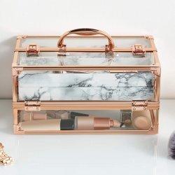 透過アクリルのローズの金のアルミニウム大理石の美の装飾的な構成のケース