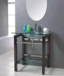 Lavatórios Industrial/Dissipador de lavagem vegetais/Armário com porta de casa de banho em vidro fosco (TB005)