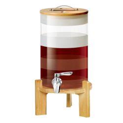 Verre borosilicaté 5/7L haut de l'eau distributeur de jus de définir avec couvercle et appuyez sur