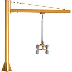 Elevatore di vuoto con la colonna dritta e gru a braccio girevole per vetro che tratta e che monta nella linea di produzione di vetro isolata