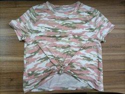 Señoras Primavera Verano Camo imprimir el nudo de manga corta T-Shirt